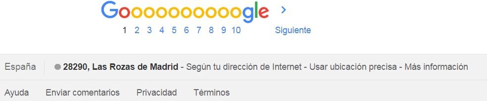 Ubicación Google búsquedas